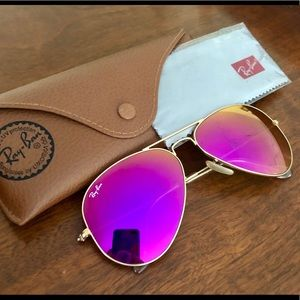 RAY-BAN AVIATOR FLASH LENSES IN PINK